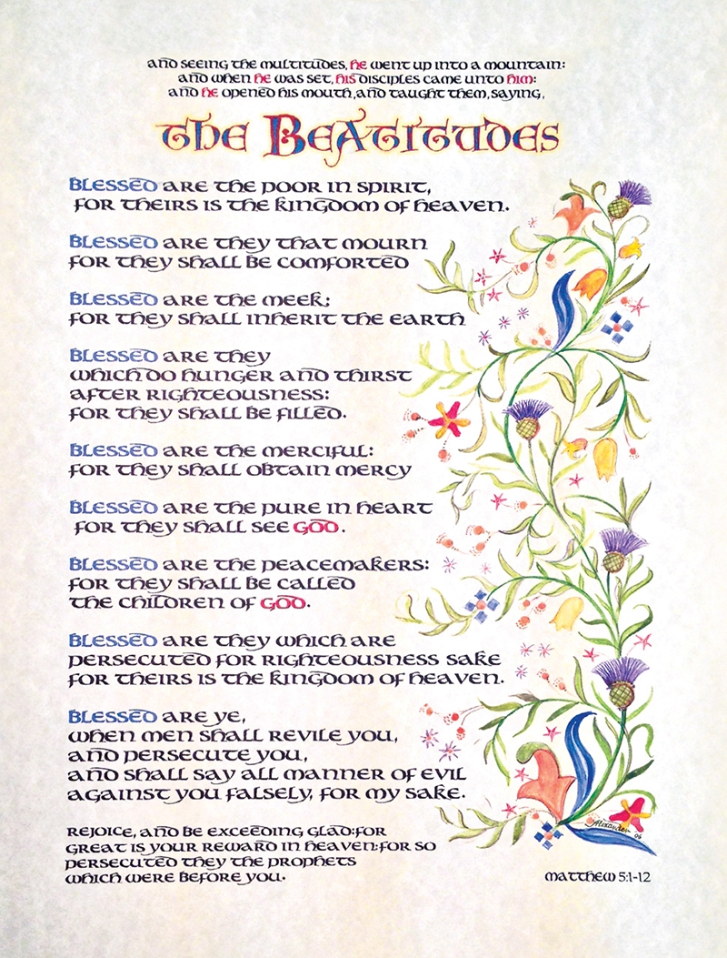 The Beatitudes Calligraphy Print