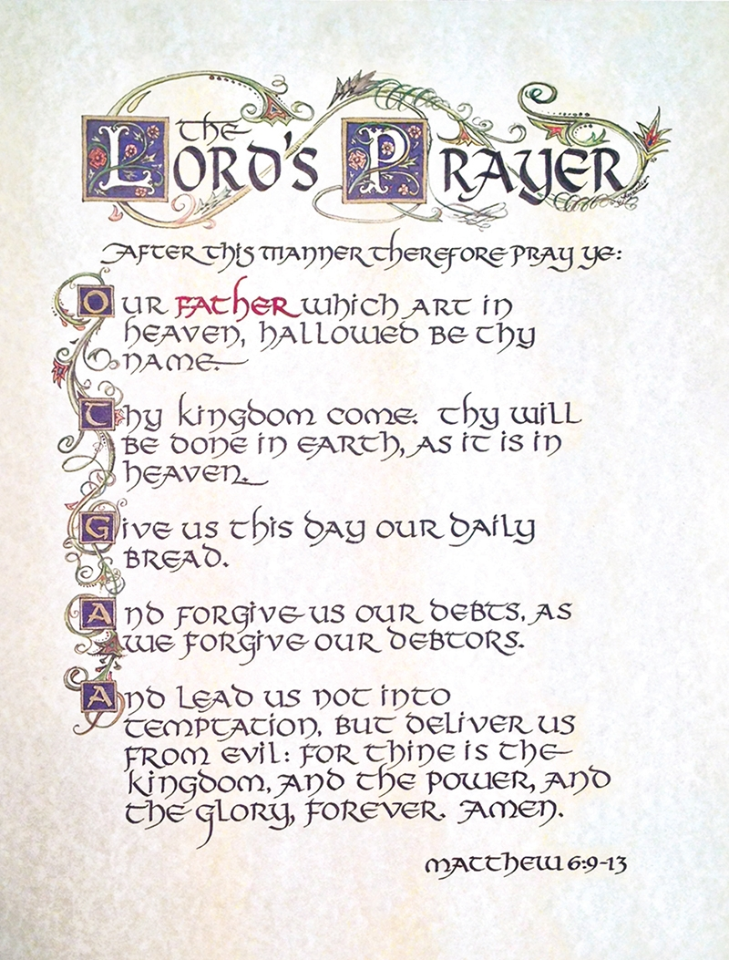 picture regarding Printable Lords Prayer identified as Lords Prayer Calligraphy Print (PT135)