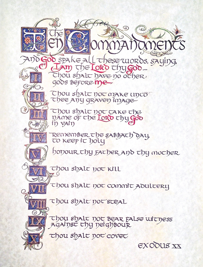 Ten Commandments Calligraphy Print